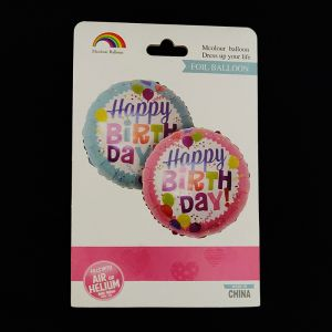 Happy Birthday Pink Round Foil Balloon - Set of 1
