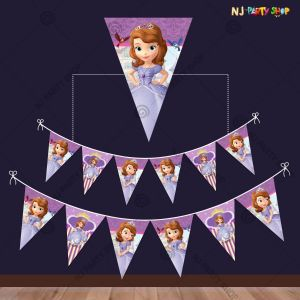 Sofia Princess Theme Flag Banner Decoration - Set of 9