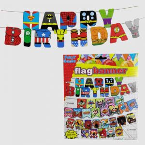 Super Heroes Theme Happy Birthday Banner
