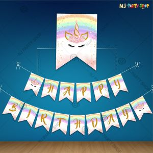 Unicorn Theme Happy Birthday Banner