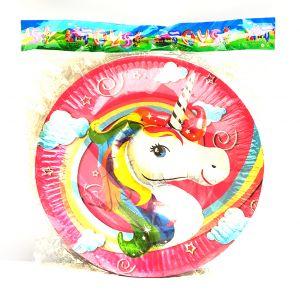 Unicorn Theme Paper Plates - Set of 10