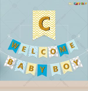 Welcome Baby Boy Banner Decoration
