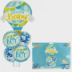 Welcome Baby Boy Foil Balloon Set - Set of 5