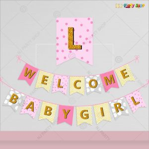 Welcome Baby Girl Banner Decoration
