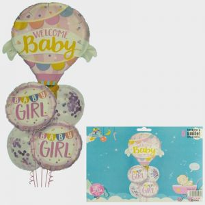 Welcome Baby Girl Foil Balloon Set - Set of 5