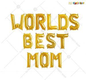 Worlds Best Mom Foil Golden Banner