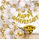 03L - Golden Happy Anniversary Decoration Combo Kit - Set of 57 Pieces
