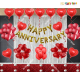 018M - Red & Golden Happy Anniversary Decoration Combo Kit - Set of 68