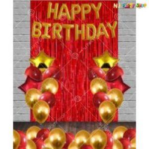 010J - Happy Birthday Decoration combo - Golden & Red - Set Of 39
