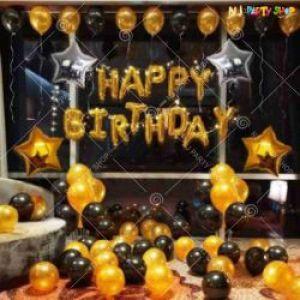 011J - Happy Birthday Decoration combo - Golden & Black - Set Of 47