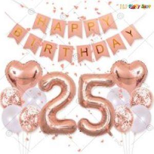011K - Happy Birthday Decoration Combo - RoseGold & White - Set Of 31