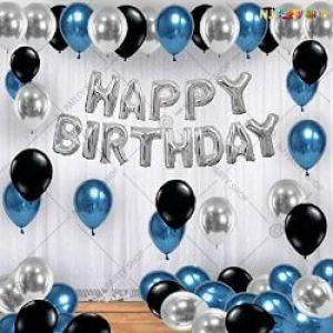 013B Model - Birthday Decoration Combo - Blue & Silver - Set of 31 Pcs