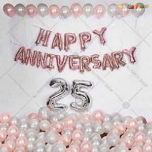 01A Happy Anniversary Decoration Combo - RoseGold & Silver - Set Of 48