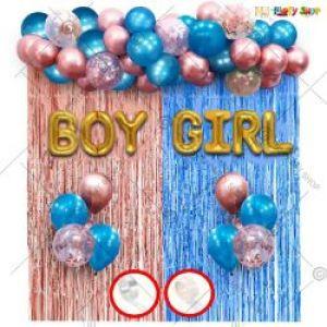 01J - Baby Shower Decoration Combo - Rose Gold & Blue - Set Of 44