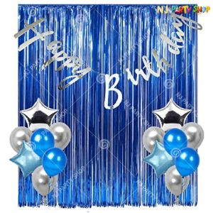 01N -Silver & Blue Birthday Decoration Combo - Set of 38