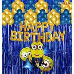 03C - Minion Theme Happy Birthday Decoration Combo - Set Of 50