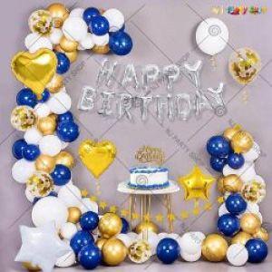03J - Happy Birthday Decoration Combo - Blue & Golden - Set Of 53