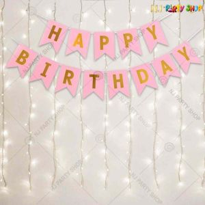 03M - Pink With Lights Birthday Decoration Combo - Set of 14
