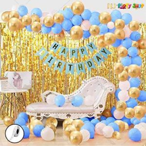 03Y -Blue & Golden Birthday Decoration Combo - Set of 45