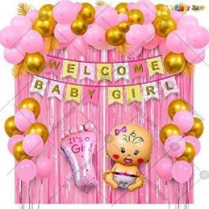 04J - Welcome Baby Girl Decoration Combo - Pink - Golden - Set Of 50