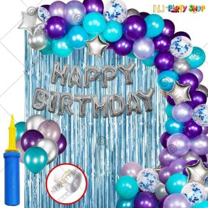 04Y -Blue & Silver Birthday Decoration Combo- Set of 51