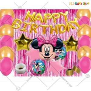 05A - Minnie Mouse Theme Happy Birthday Decoration Combo - Set Of 45