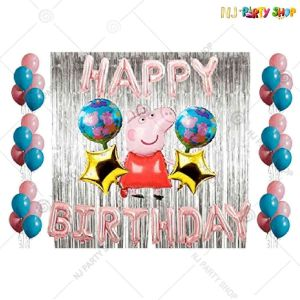 05U -Peppa Pig Theme Birthday Decoration Combo- Set of 50