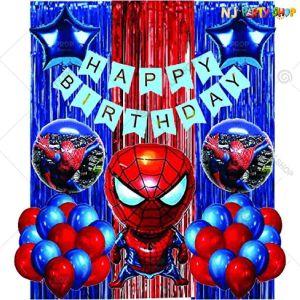 06T - Spiderman Theme Birthday Decoration Combo- Set of 51