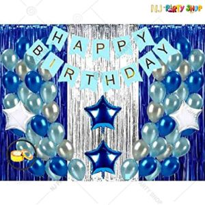 06Y -Blue & Silver Birthday Decoration Combo- Set of 51