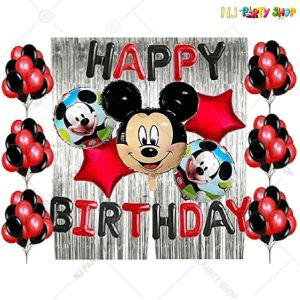 07T - Mickey Mouse Theme Birthday Decoration Combo- Set of 80