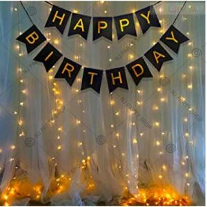 08Y Black Banner With Lights Birthday Decoration Combo - Set of 14