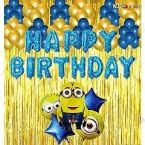 09I - Minion Theme  Happy Birthday Decoration Combo - Set Of 50