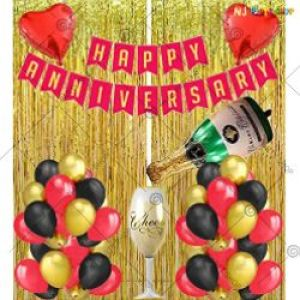 0B10 - Happy Anniversary Decoration Combo - Red & Golden - Set Of 52
