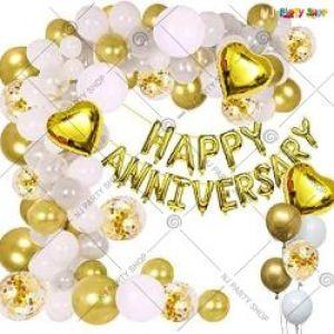 0B11 - Happy Anniversary Decoration Combo - White & Golden - Set Of 54