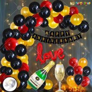 0B12 - Happy Anniversary Decoration Combo - Black & Golden - Set Of 70