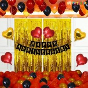 0B13 - Happy Anniversary Decoration Combo - Black & Red - Set Of 69