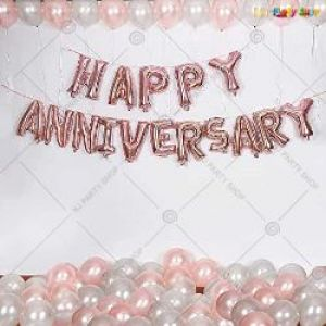 0B5 - Happy Anniversary Decoration Combo - Rose Gold  & Silver - Set Of 47