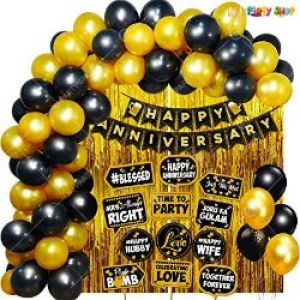 0B6 - Happy Anniversary Decoration Combo - Black & Golden - Set Of 60