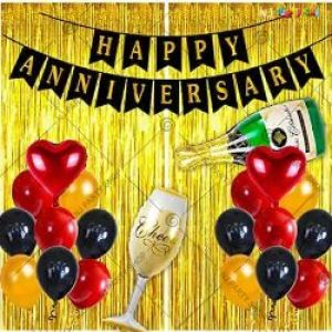 0B8 - Happy Anniversary Decoration Combo - Red & Golden - Set Of 52