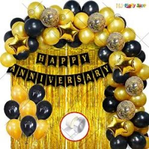 0B9 - Happy Anniversary Decoration Combo - Black & Golden - Set Of 59