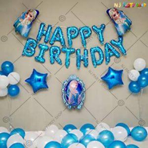 10B - Frozen Theme Happy Birthday Decoration - Blue & White - Set Of 48
