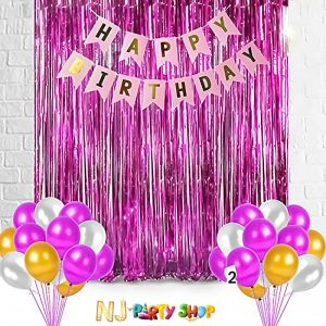 010C Model - Birthday Decoration Combo -Pink & Golden - Set of 27 Pcs