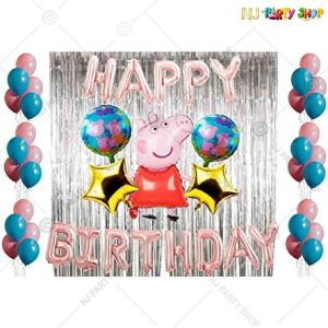 011U -Peppa Pig Theme Birthday Decoration Combo - Set of 50