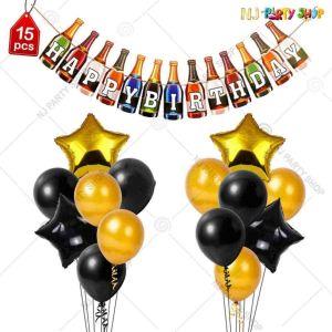 012K - Birthday Party Decoration Combo - Black & Gold - Set of 31