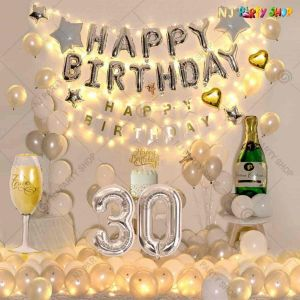 012W - Birthday Party Decoration Combo - Silver & White - Set of 80