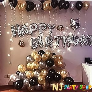 013C Model - Birthday Decoration Combo -Black & Golden - Set of 51 Pcs