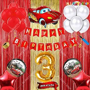 013U -Car Theme Birthday Decoration Combo - Set of 44