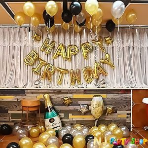 014C Model - Birthday Decoration Combo -Black & Golden - Set of 62 Pcs