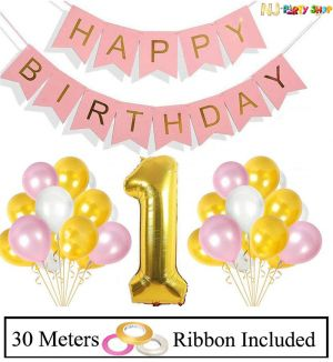 015B Model - Birthday Decoration Combo - First Birthday Girl - Set of 32 Pcs