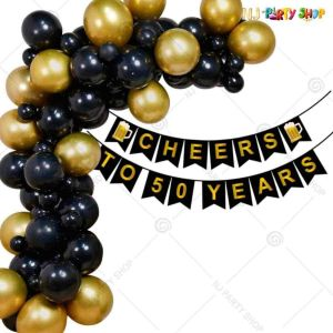 016S - Birthday Party Decoration Combo - Gold & Black - Set of 60